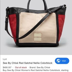 See by Chloe Red Satchel Nellie Colorblock